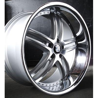 "X15 Wheels 22x9"" 22x10.5"" BMW 645 Staggered Silver Chrome Lip w/ Tires"