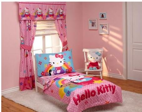 Hello Kitty Stars and Rainbows 4-piece Toddler Bedding Set - 1