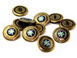 Loose Dill 25mm Round Metal Buttons Colour 36 Antique Gold/Navy Blue - per single button