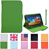 """HDE Universal 7"""" Leather Folio Tablet Case Cover w/ Matching Stylus Pen (Green)"""