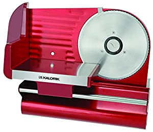 "Kalorik 200-Watt Electric Meat Slicer with 7.5"" Blade, Red Metallic"
