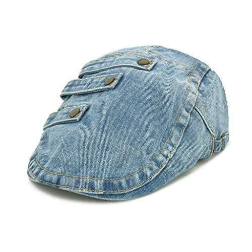 e070b57c590 lethmik Denim Flat Cap Newsboy Ivy Irish Hats Jean Cabbie Scally Cap  Duckbill Hat Buttons Light