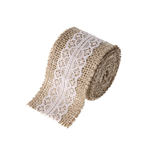Ling's moment 2 Yards Natural Jute Burlap Ribbon With Lace 2