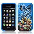 Blue Colourful Samsung Galaxy Ace S5830 Butterfly Flower / Floral Hydro Soft Solid TPU Silicone Print Gel Skins Mobile Phone Case Cover
