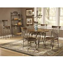 Big Sale Best Cheap Deals Hillsdale Montello 45-Inch 5-Piece Table Dining Set, Old Steel Finish with Brown Faux Leather, Set Includes 1-Table and 4-Chairs