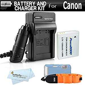 Battery And Charger Kit For Canon PowerShot D10 D20 D30 Waterproof Digital Camera Includes Extended (1200Mah) Replacement NB-6L Battery + Ac/Dc Travel Charger + Floating Strap + MicroFiber Cloth