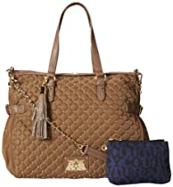 Juicy Couture Quilted and Studded Nylon Lauryn Zip Top Cross Body Bag,Mocha,One Size