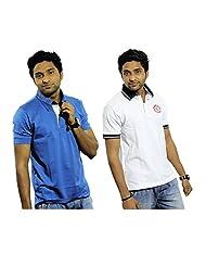 Garushi Men'S White And Blue Polo Neck T-Shirt Combo - B00YMLATNG