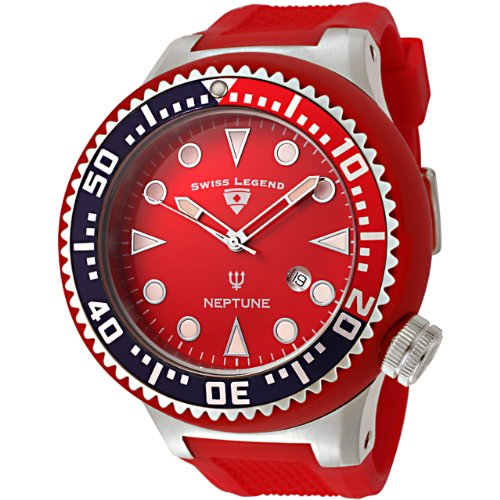 Swiss Legend Men's 21818D05RBL Neptune Collection Stainless Steel Red Rubber Watch