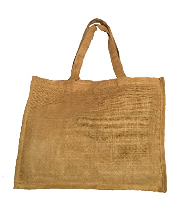"""Natural Color Jute Burlap Shopping tote bag with jute handles unlaminated from inside size 16""""W x12""""H x 4""""Gusset Eco-friendly Reusable Bag - CarryGreen Bags"""