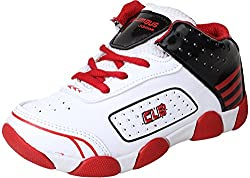 Columbus Boys White & Red Synthetic Shoes (2.5 UK)