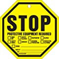 """Accuform Signs TAP807PTP Octo-Tag, Legend """"STOP PROTECTIVE EQUIPMENT REQUIRED"""", 8"""" Octagon Shape, 0.015"""" Thickness, RP-Plastic, Black on Yellow (Pack of 10)"""