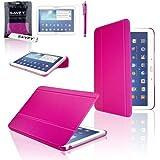 """SAVFY® 3en1 Ultra Slim Housse en cuir pour Samsung Galaxy Tab 3 10.1"""" P5200/P5210 + FILM D'ECRAN + STYLET OFFERTS! - Housse de Protection Etui Smart Cover Case avec rabat/stand de positionnement support et la Fonction Sommeil/Réveil Automatique Pour Tablette Samsung Galaxy TAB 3 10.1 10"""" P5200 / P5210 / P5220 / GT-P5210ZWAXEF Tablet - Fuschia"""