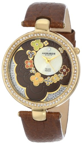 Akribos Xxiv Women'S Ak601Br Lady Diamond Flower Dial Swiss Quartz Leather Strap Watch