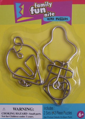Family Fun Nite 'METAL' WIRE PUZZLES w 2 SETS of 2 Piece METAL Wire PUZZLES
