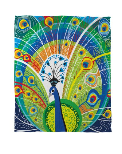 Thumbprintz Coral Fleece Throw, 60 By 80-Inch, Peacock Face In Blue front-471997