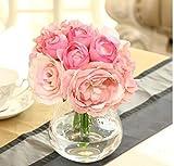 Bouquet Silk Flowers Home Decor,Hot Selling Bride Holding Flowers Roses Peony Hydrangeas Bridesmaid Wedding Decor-Pink