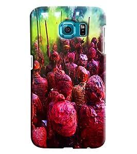 Blue Throat Vrindavan Holi Hard Plastic Printed Back Cover/Case For Samsung Galaxy S6 Edge Plus