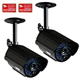 VideoSecu 2 Pack Infrared IR Day Night Vision CCTV Surveillance Security Cameras Weatherproof Outdoor with Free Security Warning Stickers CTC