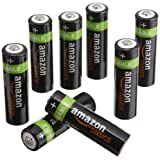 AmazonBasics AA NiMH Precharged Rechargeable Batteries-8-Pack, 2000 mAh