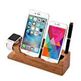 Wayon Multi-function Dock Station for Apple Watch / 2 iPhone / Pen Holder / Name Card Slot Bamboo Wood Stand Charger Dock Desk / Holder / Display / Cradle / Bracket