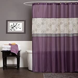 Lush decor covina shower curtain purple for Bathroom decor on amazon