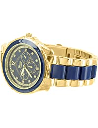 Gold Blue Tone Watch MK Style Brand New Stainless Steel Case Womens Fashion