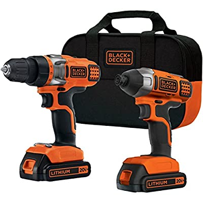 BLACK+DECKER BDCD220IA 20-Volt MAX Lithium-Ion Drill/Driver and Impact Driver with 2 Batteries