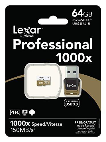 Lexar Professional 1000x 64GB MicroSDHC UHS-II/U3 (150MB/s) Memory Card (With USB 3.0 Reader)