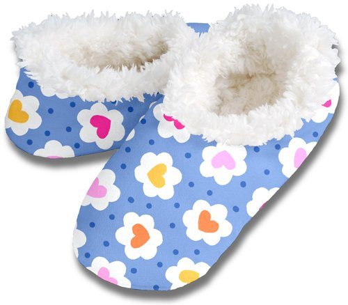 Cheap Snoozies Womens Fleece Lined Footies, Blue Daisy Hearts Extra Large (100-313B)