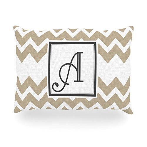 "Kess Inhouse Kess Original ""Monogram Chevron Tan Letter A"" Oblong Rectangle Outdoor Throw Pillow, 14 By 20-Inch front-1016716"