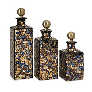 set of 3 shimmering mosaic decorative glass