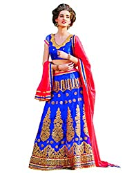 DesiButik's Wedding Wear Ravishing Blue Net Lehenga