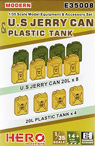 HHKE35008 1:35 Hero Hobby Kits Accessories - Modern US Jerry Can & Plastic Tank Set [MODEL KIT ACCESSORY] (1 35 Jerry Cans compare prices)