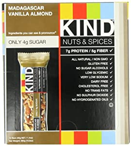 KIND Nuts & Spices, Madagascar Vanilla Almond, 12-Count Bars by KIND