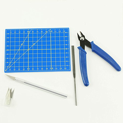 9pc Plastic Modeling Tool Set - Cutting Mat, Precision Cutter & Blades, Flat File, Nippers
