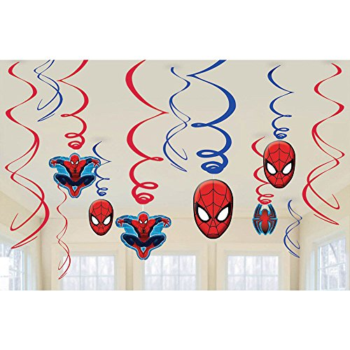 Spiderman Foil Swirl Hanging Decorations (Each) - Party Supplies