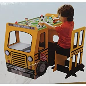 Kenyield Big Red School Bus Play Table With Chair For Kids