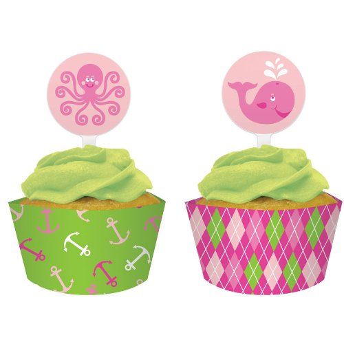Creative Converting Ocean Preppy Girl Cupcake Topper Decorations With Matching Baking Cup Wrappers, 12 Count