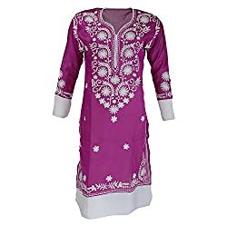AKS Lucknow Women's Crepe Silk Regular Fit Kurti