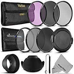 67MM Must Have Lens Filter Accessory Kit for Canon EOS Rebel T5i T4i T3i T3 T2i T1i DSLR Camera with a 18-135MM Zoom Lens - Includes: 67MM Vivitar Filter Kit (UV CPL FLD) + ND Neutral Density Filter Set (ND2 ND4 ND8) + Carry Pouch + Tulip Lens Hood + Collapsible Lens Hood + Snap-On Front Lens Cap + Cap Keeper Leas + MagicFiber Microfiber Lens Cleaning Cloth