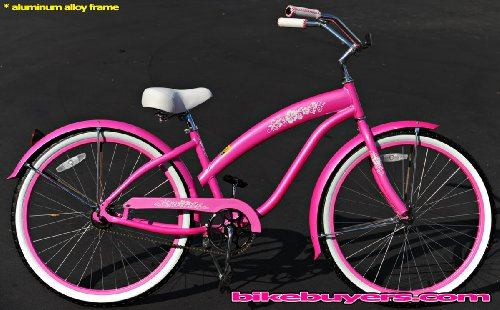 Aluminum frame, Fito Modena Alloy 1-speed Pink Women's Beach Cruiser Bike Bicycle Micargi Schwinn Nirve Firmstrong style
