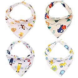 Bibs Baby Bandana Drool Bibs*4| Water-absorption Cottons Bibs| Cute Animals and Little Car&plane Baby Bibs|unisex Baby Fashion Bibs Accessory|best Bibs Sets Gift|high Quality Guarantee|