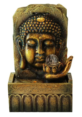 Golden Lucky Buddha Indoor Tabletop Water Fountain with Glass Ball