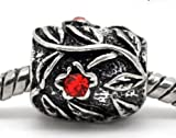 Truly Charming® Red Stone Set In Flower Charm Bead Will Fit Pandora Troll Chamilia Style Bracelets