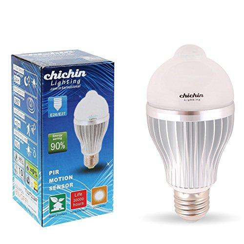 Chichinlighting® Day White Cool White 6000K Motion Detection Sensor Led High Performance Energy Saving Light Bulb E27 Led Motion Light 85-265V (6 Watt)