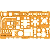 Metric 1:50 Scale Architectural Drawing Template Stencil - Architect Technical Drafting Supplies - Furniture Symbols for House Interior Floor Plan Design