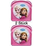 2 Stück - Sandwich-Box / Brotdose - FROZEN / Die Eiskönigin - für Kindergarten, Schule, Sport, oder Auto - Lunchbox / Brotzeitdose