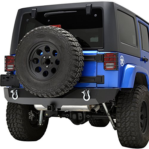 E-Autogrilles-51-0310-Black-Rock-Crawler-Rear-Bumper-07-16-Jeep-Wrangler-JK-Textured-Heavy-Duty-with-2-Hitch-Receiver