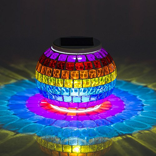 Mosaic Glass Color Changing LED Solar Lights, Rechargeable Waterproof Solar Table Lamps Night Light Garden Decor for Indoor Outdoor Lawn Yard Patio